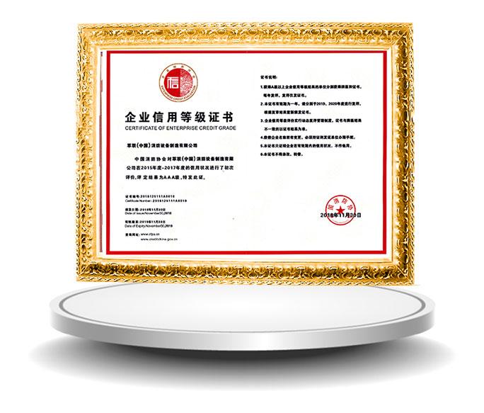 萃聯AAA信用等級證書